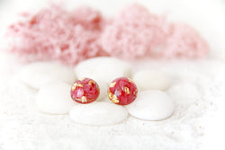Botanical Earrings Real Magenta Flowers with Goldleaf