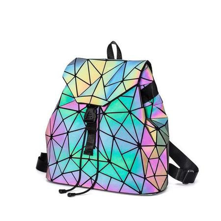 Holographically glowing mini backpacks