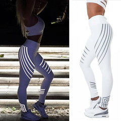 Damen Hose Streifen Yoga Leggings Reflektierend Jogging Sport Laufhosen Leggins - www.rave-on.shop