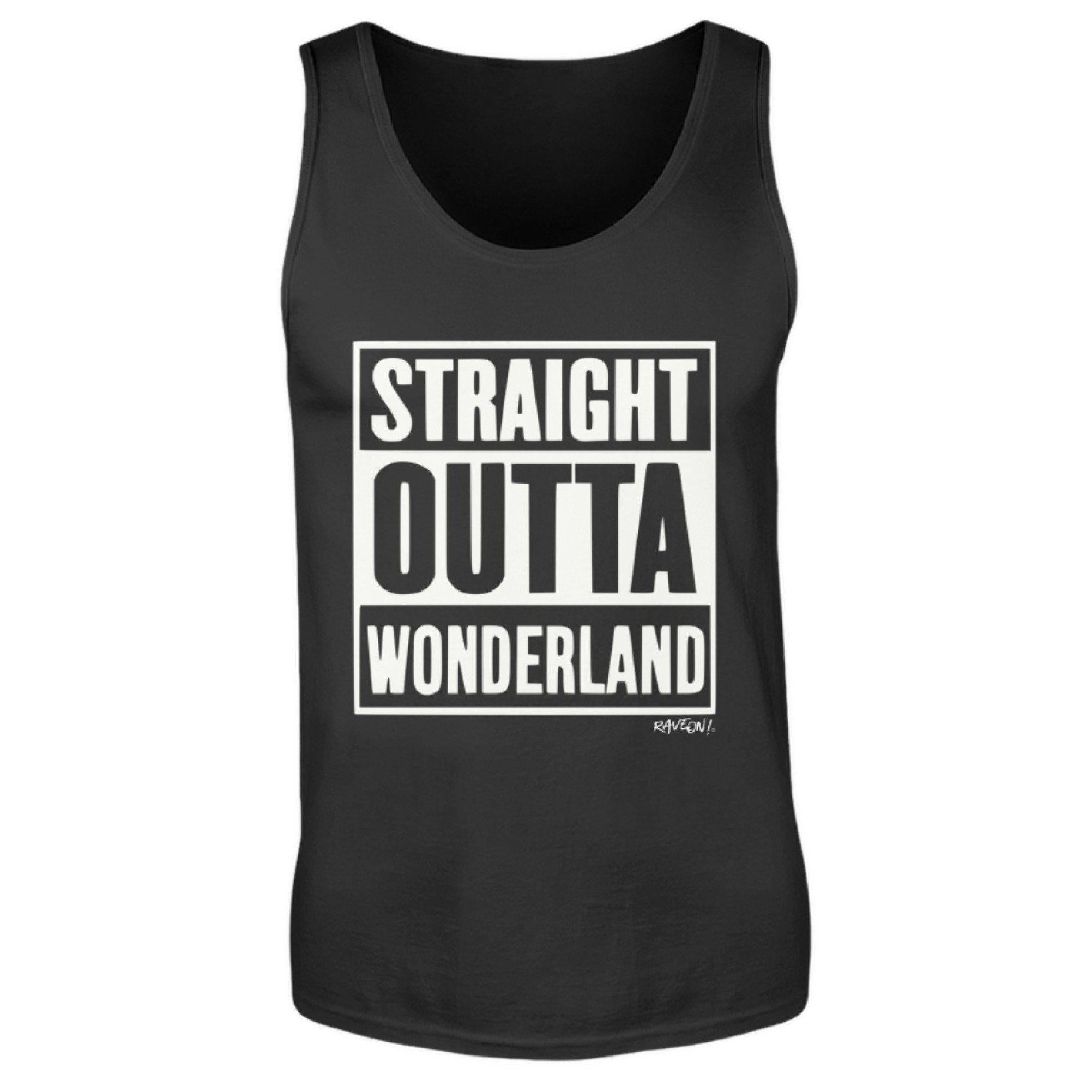 STRAIGHT OUTTA WONDERLAND - Rave On!® - Herren Tanktop Herren Tank-Top Black / S - Rave On!® der Club & Techno Szene Shop für Coole Junge Mode Streetwear Style & Fashion Outfits + Sexy Festival 420 Stuff
