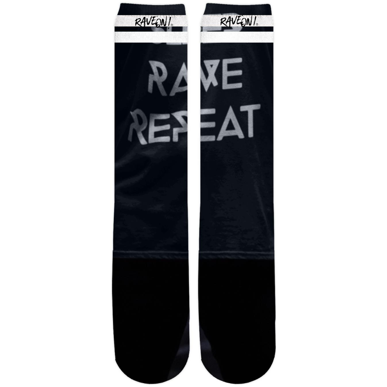 RAVE REPEAT Rave On!® Kniestrümpfe Knee-High Socks One Size - Rave On!® der Club & Techno Szene Shop für Coole Junge Mode Streetwear Style & Fashion Outfits + Sexy Festival 420 Stuff