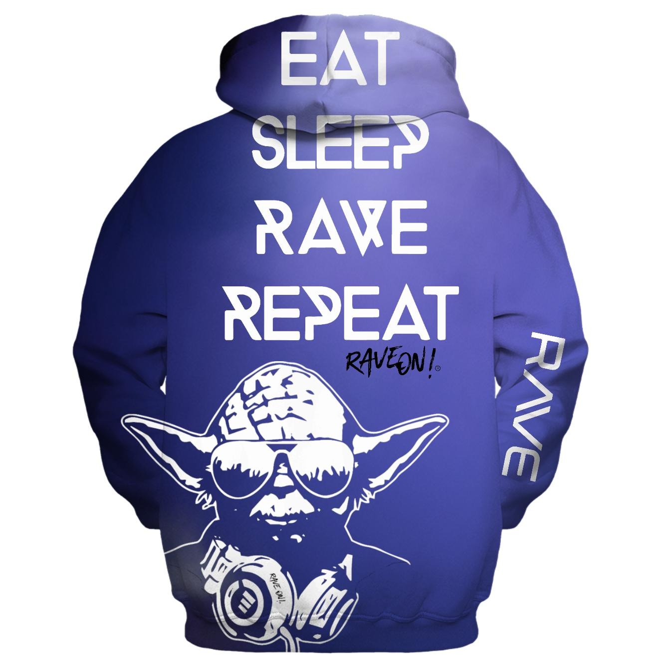 RAVE REPEAT Yoda - Rave On!® All-Over-360Print Hoodies - Rave On!® der Club & Techno Szene Shop für Coole Junge Mode Streetwear Style & Fashion Outfits + Sexy Festival 420 Stuff