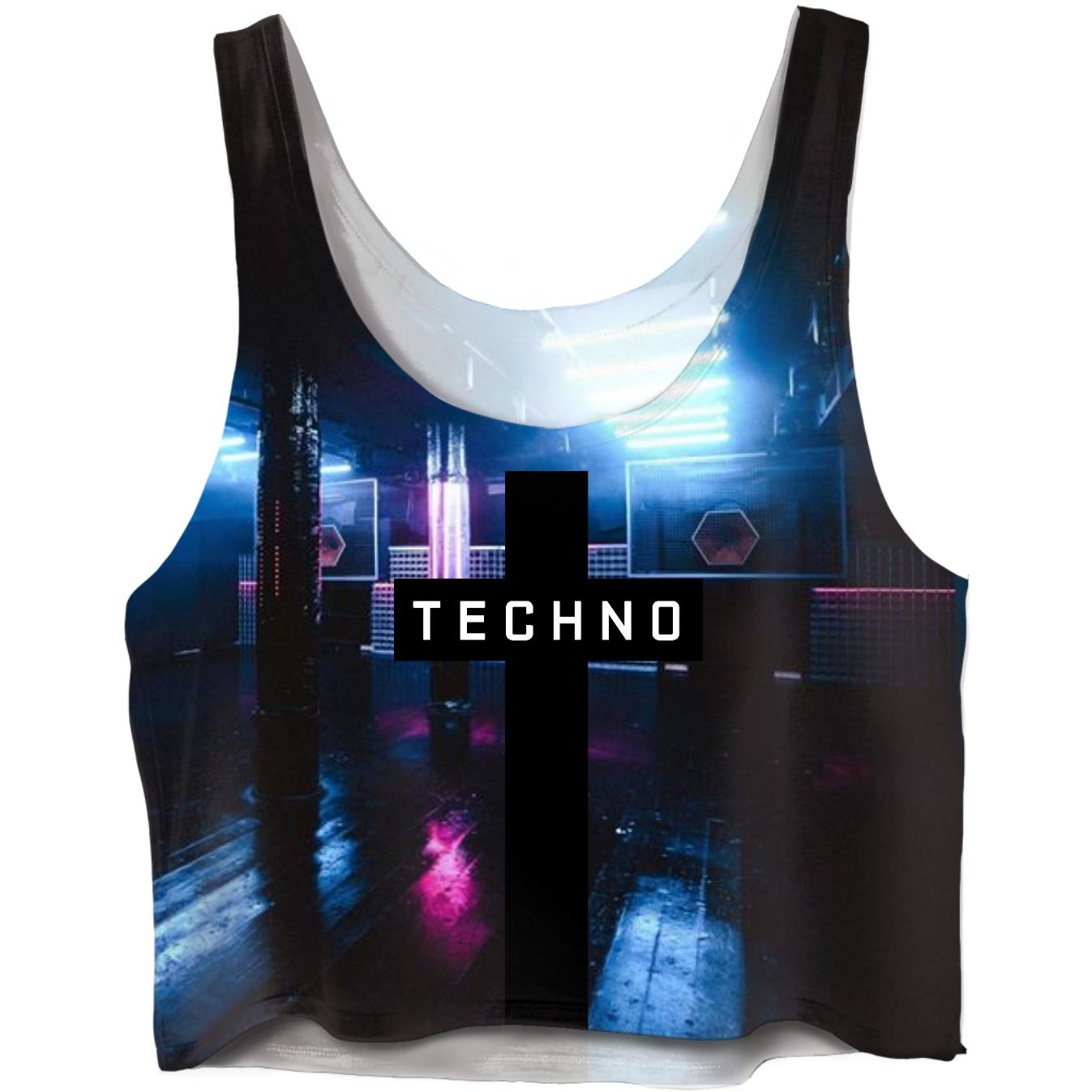 TECHNO Club CropTop - Rave On!® All-Over-360Print Crop Tops X-Small - Rave On!® der Club & Techno Szene Shop für Coole Junge Mode Streetwear Style & Fashion Outfits + Sexy Festival 420 Stuff