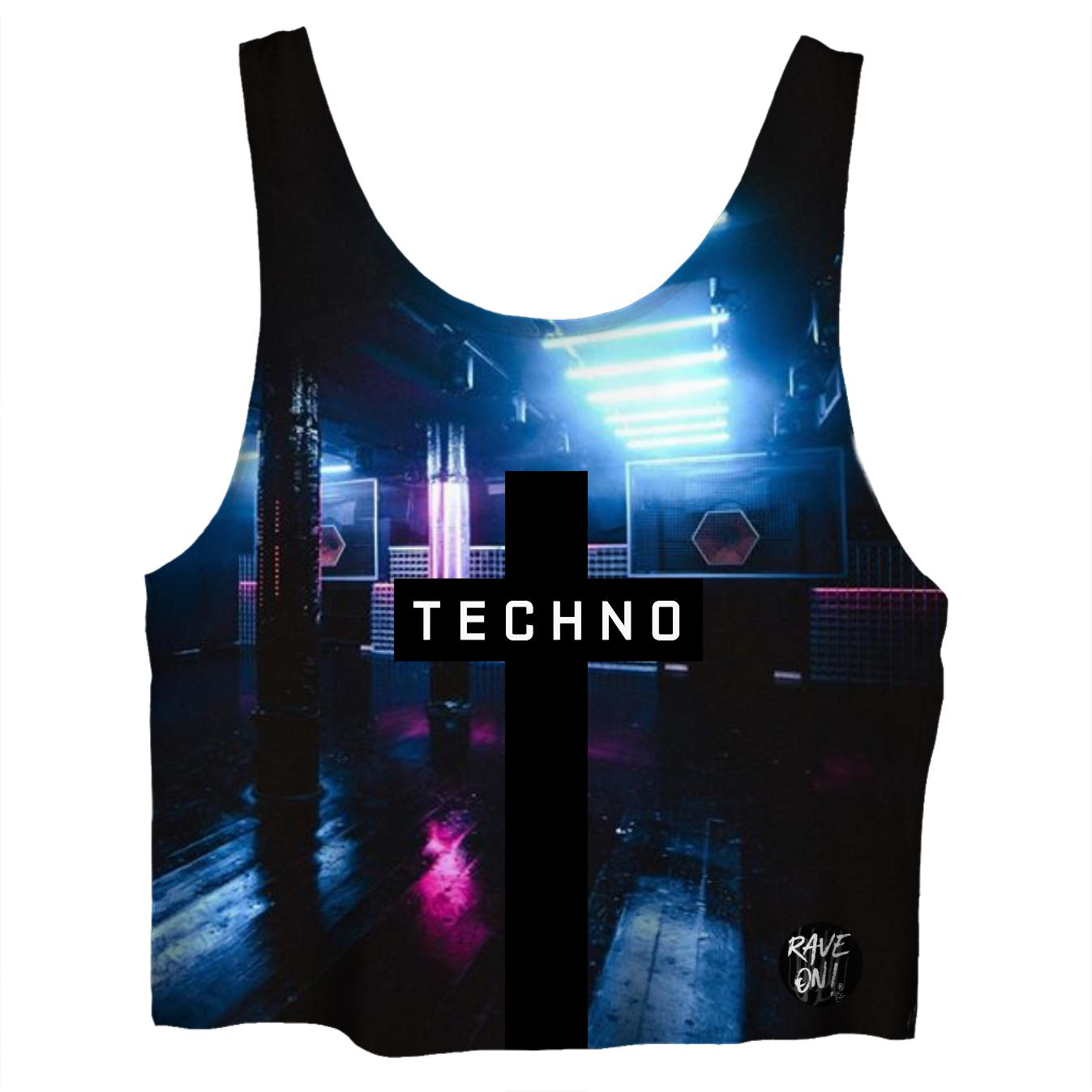 TECHNO Club CropTop - Rave On!® All-Over-360Print Crop Tops - Rave On!® der Club & Techno Szene Shop für Coole Junge Mode Streetwear Style & Fashion Outfits + Sexy Festival 420 Stuff