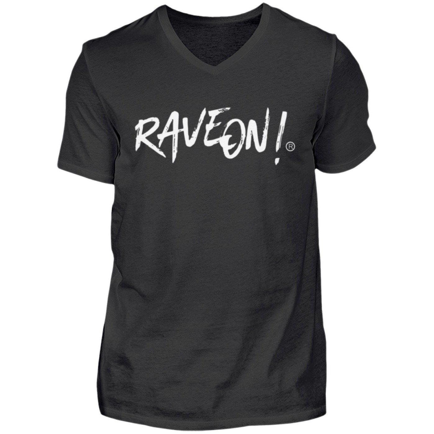 RAVE ON!® Side Black Collection - Herren V-Neck Shirt V-Neck Herrenshirt Schwarz / S - Rave On!® der Club & Techno Szene Shop für Coole Junge Mode Streetwear Style & Fashion Outfits + Sexy Festival 420 Stuff