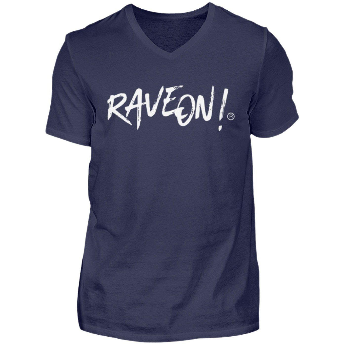 RAVE ON!® Side Black Collection - Herren V-Neck Shirt V-Neck Herrenshirt Dunkel-Blau / S - Rave On!® der Club & Techno Szene Shop für Coole Junge Mode Streetwear Style & Fashion Outfits + Sexy Festival 420 Stuff