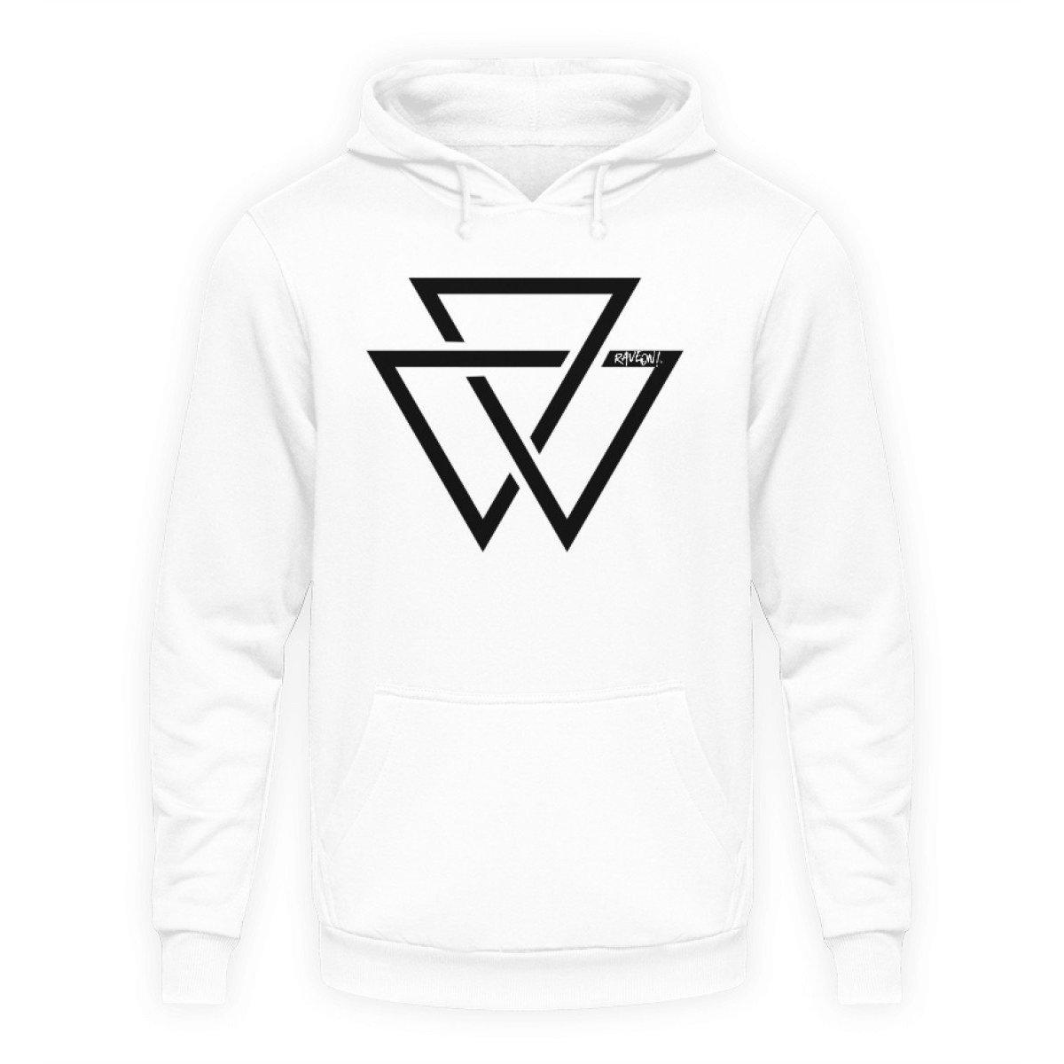 Black Triangle - Rave On!® - Unisex Kapuzenpullover Hoodie-Unisex Hoodie-Arctic White-S-Rave-On! I www.rave-on.shop I Deine Rave & Techno Szene Shop I Design - Black Triangle - Rave On!®, Dreieck, rave, triangle - Sexy Festival Streetwear , Clubwear & Raver Style