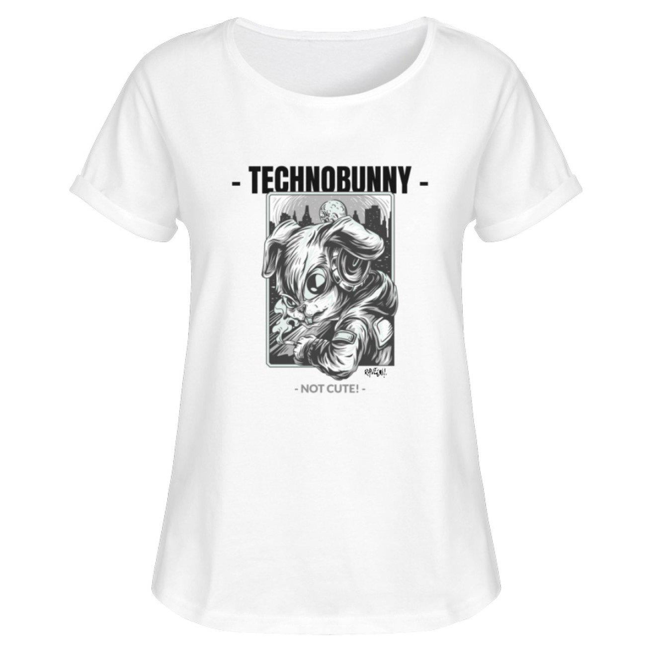 TECHNOBUNNY - Not Cute! - Rave On!® - Damen RollUp Shirt Women Rollup Shirt White / S - Rave On!® der Club & Techno Szene Shop für Coole Junge Mode Streetwear Style & Fashion Outfits + Sexy Festival 420 Stuff