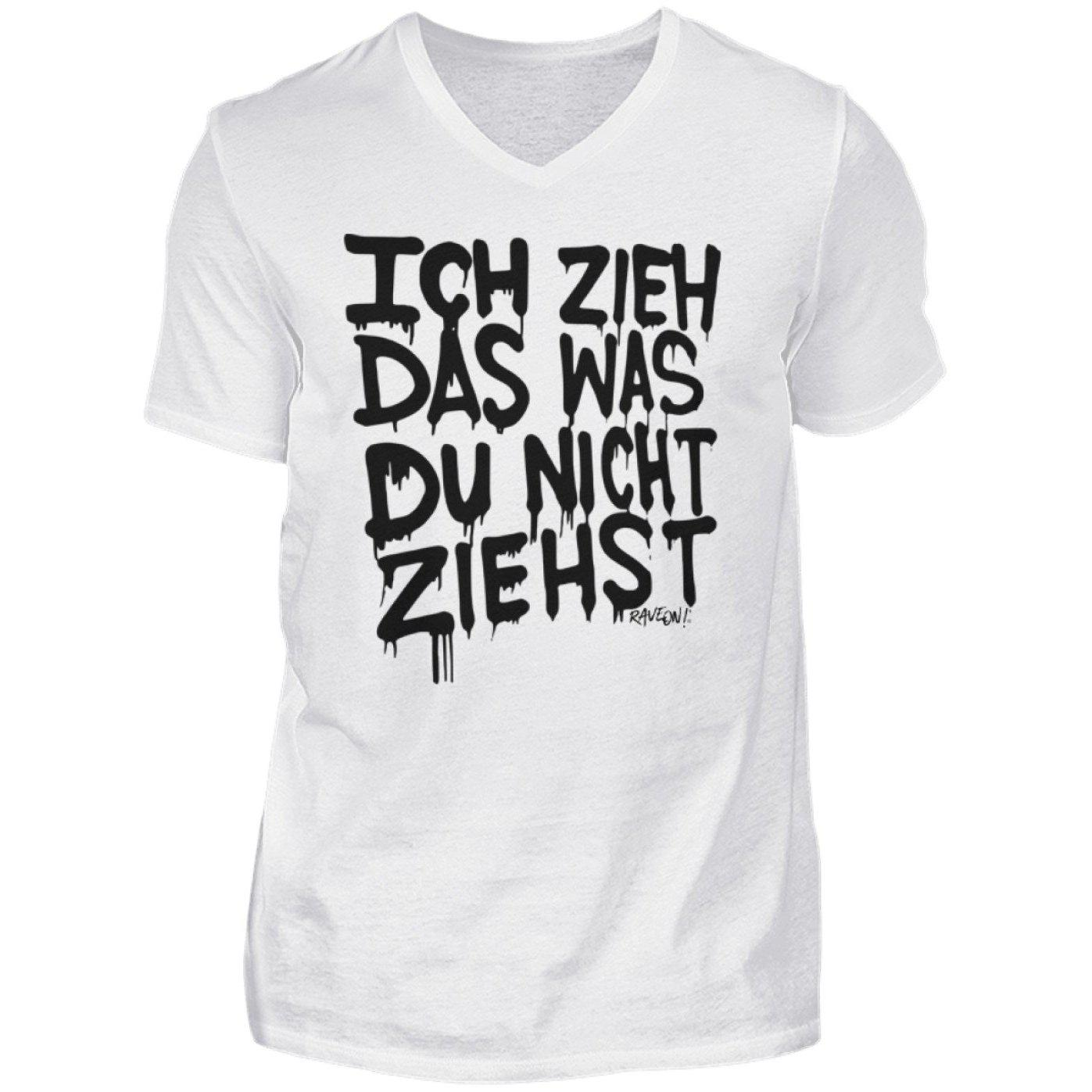 Ich Zieh das... white - Rave On!® - Herren V-Neck Shirt V-Neck Herrenshirt White / S - Rave On!® der Club & Techno Szene Shop für Coole Junge Mode Streetwear Style & Fashion Outfits + Sexy Festival 420 Stuff
