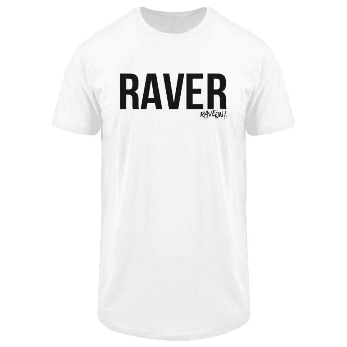 "Stylisches Rave On!® ""Raver"" Shirt w - Herren Long Tee Men Long Tee White / S - Rave On!® der Club & Techno Szene Shop für Coole Junge Mode Streetwear Style & Fashion Outfits + Sexy Festival 420 Stuff"