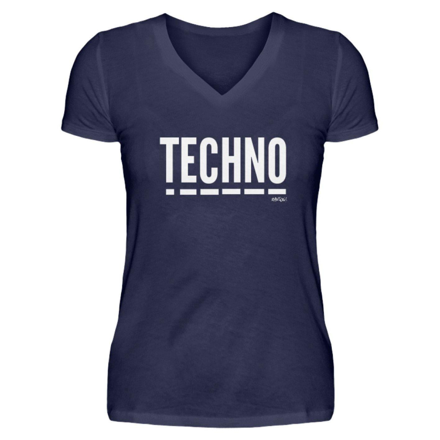 Techno Music - Rave On!® - V-Neck Damenshirt-V-Neck Damenshirt-Navy-S-Rave-On! I www.rave-on.shop I Deine Rave & Techno Szene Shop I Design - Techno Music - Rave On!®, music, Musik, rave, ravewear, techno, technowear - Sexy Festival Streetwear , Clubwear & Raver Style