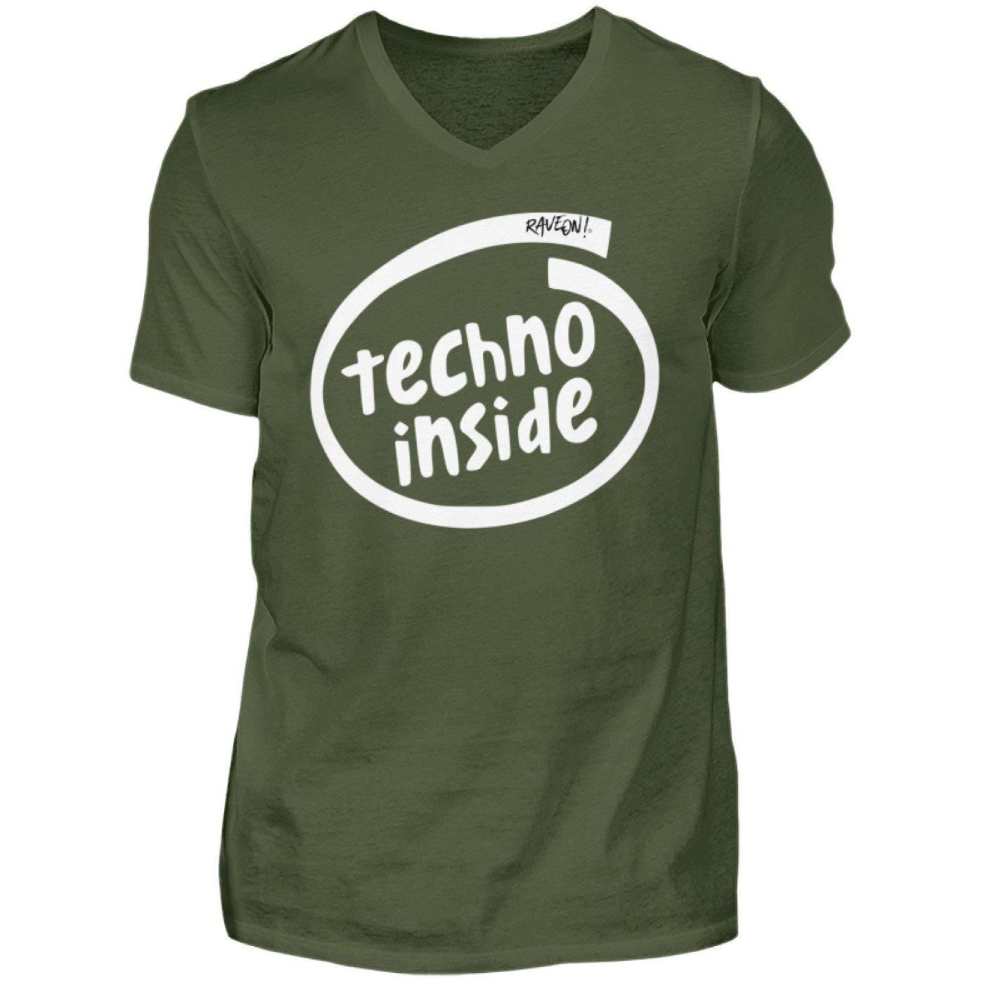 TECHNO INSIDE - Rave On!® - Herren V-Neck Shirt V-Neck Herrenshirt City Green / S - Rave On!® der Club & Techno Szene Shop für Coole Junge Mode Streetwear Style & Fashion Outfits + Sexy Festival 420 Stuff