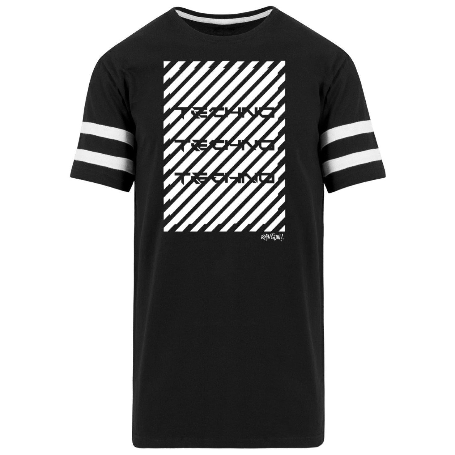 Techno Warning Rave On!® - Herren Striped Long Shirt Striped Long Shirt Black / S - Rave On!® der Club & Techno Szene Shop für Coole Junge Mode Streetwear Style & Fashion Outfits + Sexy Festival 420 Stuff