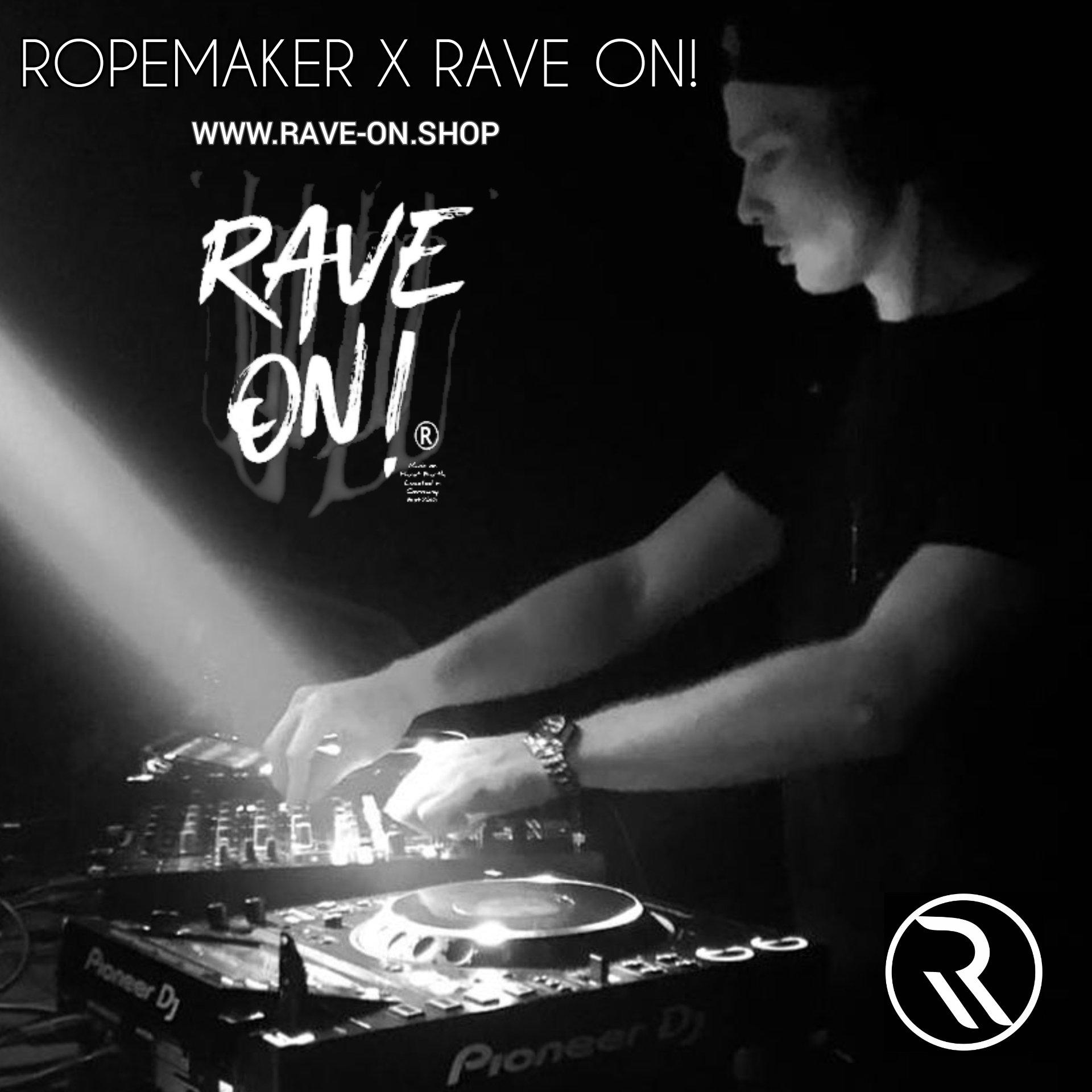 ROPEMAKER RAVE-ON!®️ BLACK T-SHIRT - Herren Premium Organic Shirt Creator T-Shirt ST/ST - Rave On!® der Club & Techno Szene Shop für Coole Junge Mode Streetwear Style & Fashion Outfits + Sexy Festival 420 Stuff