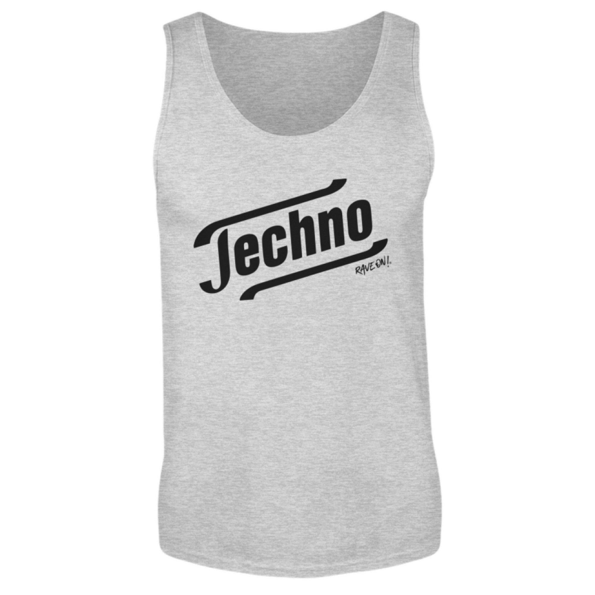 Techno Tempo White -Rave On!® - Herren Tanktop Herren Tank-Top Sport Grey (Heather) / S - Rave On!® der Club & Techno Szene Shop für Coole Junge Mode Streetwear Style & Fashion Outfits + Sexy Festival 420 Stuff