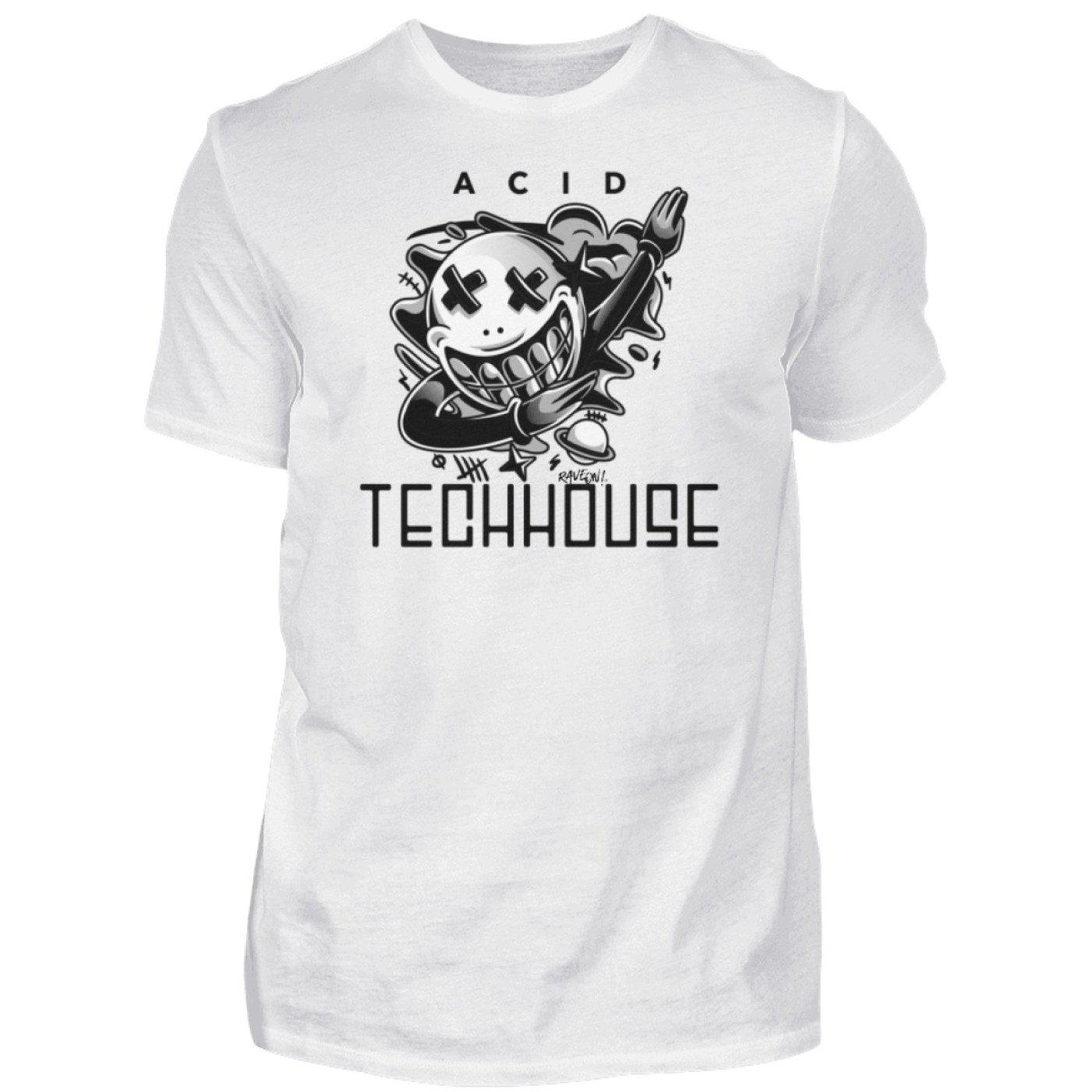 ACID TECHHOUSE - Rave On!® - Herren Shirt Herren Basic T-Shirt White / S - Rave On!® der Club & Techno Szene Shop für Coole Junge Mode Streetwear Style & Fashion Outfits + Sexy Festival 420 Stuff