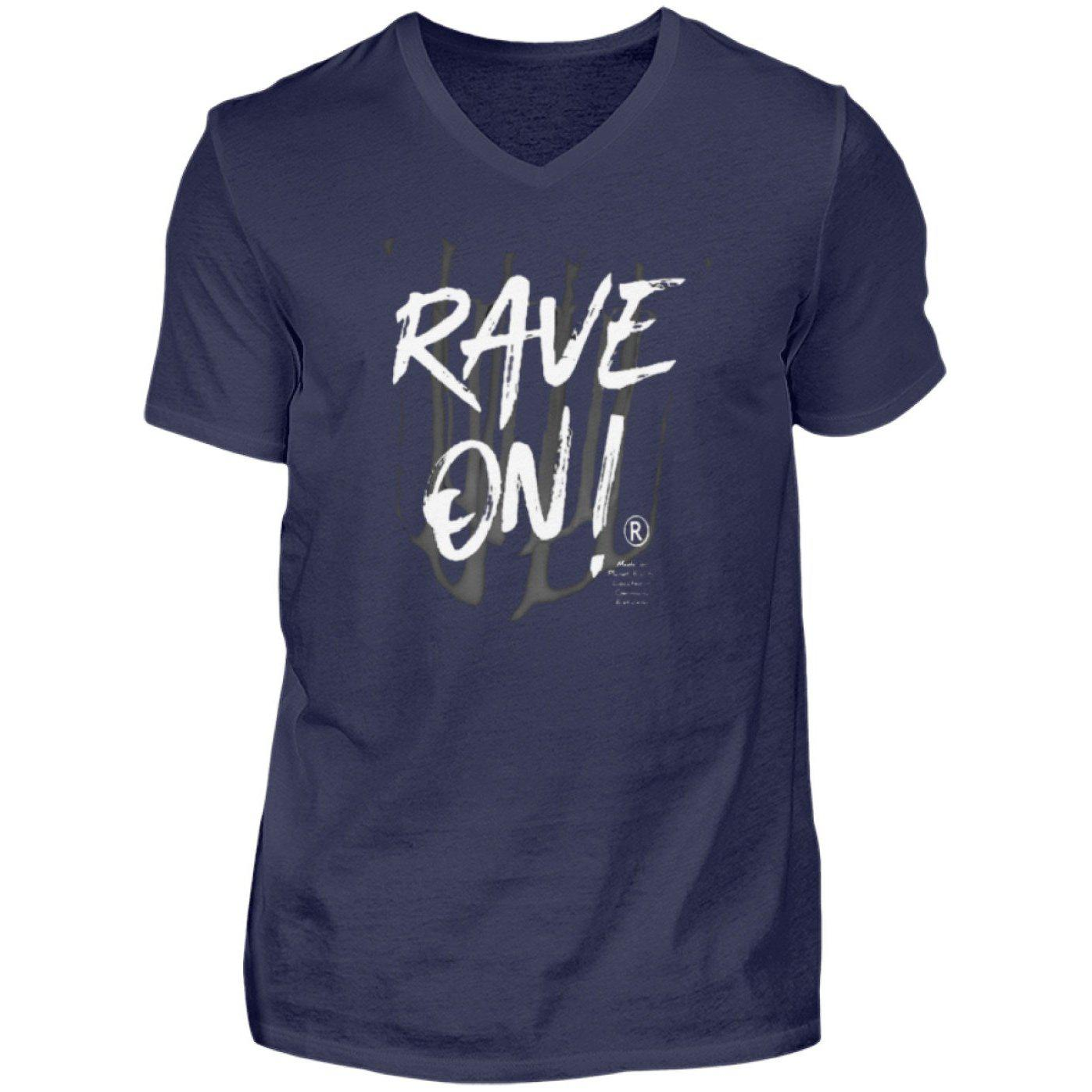 Rave On!® - Made On Planet Earth B2k20 - Herren V-Neck Shirt V-Neck Herrenshirt Navy / S - Rave On!® der Club & Techno Szene Shop für Coole Junge Mode Streetwear Style & Fashion Outfits + Sexy Festival 420 Stuff