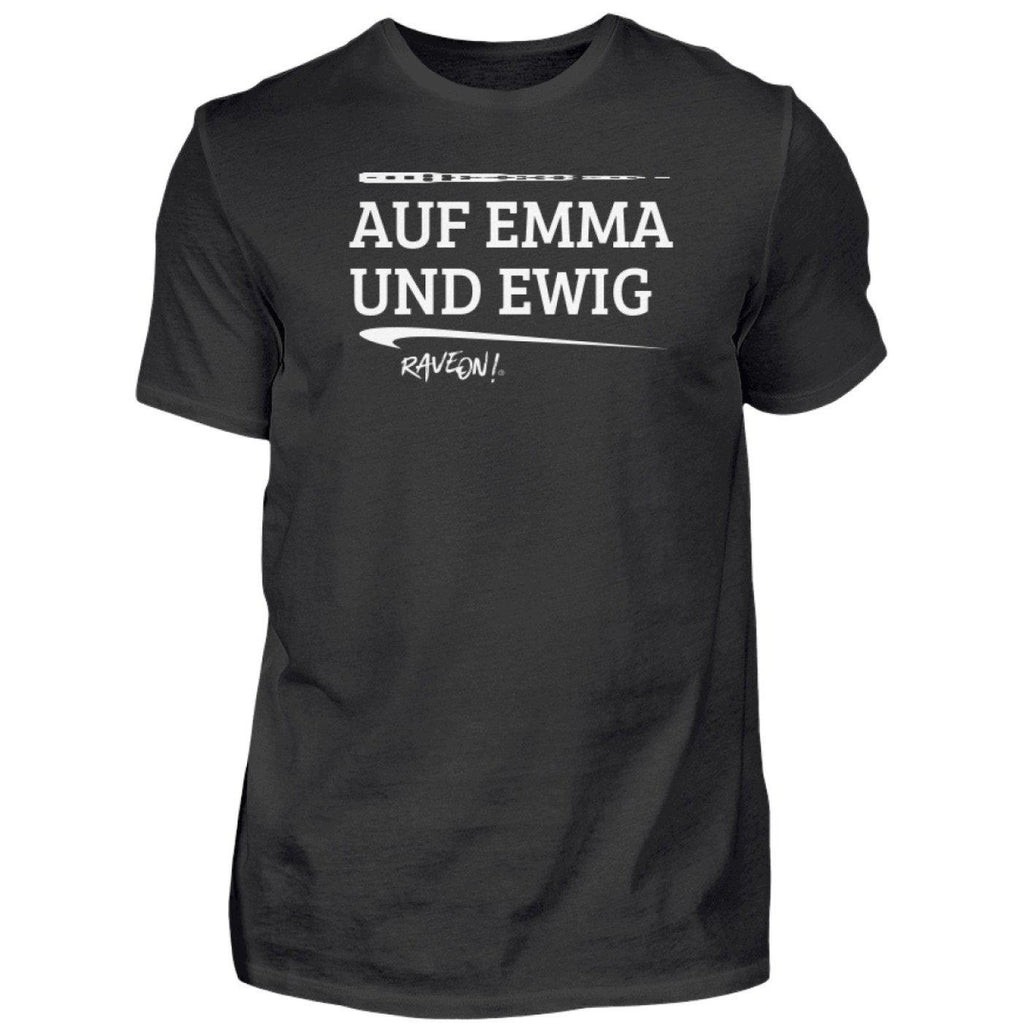 AUF EMMA UND EWIG - Rave On!® - Herren Shirt-Herren Basic T-Shirt-Black-S-Rave-On! I www.rave-on.shop I Deine Rave & Techno Szene Shop I brand, Design - AUF EMMA UND EWIG - Rave On!®, emdma, Global recommendation, on!®, rave, Rave on, Rave On!®, ® - Sexy Festival Streetwear , Clubwear & Raver Style