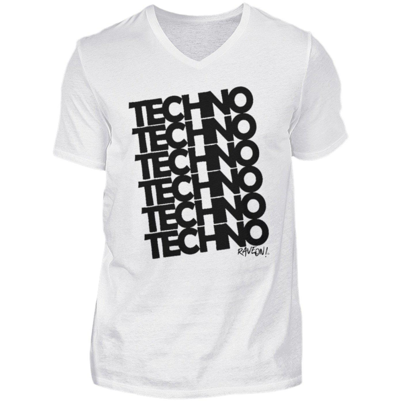 TECHNO 6 Rave On!® T-Shirt - Herren V-Neck Shirt V-Neck Herrenshirt White / S - Rave On!® der Club & Techno Szene Shop für Coole Junge Mode Streetwear Style & Fashion Outfits + Sexy Festival 420 Stuff