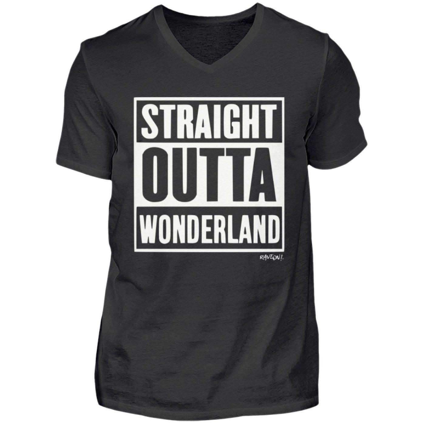 STRAIGHT OUTTA WONDERLAND - Rave On!® - Herren V-Neck Shirt-V-Neck Herrenshirt-Black-S-Rave-On! I www.rave-on.shop I Deine Rave & Techno Szene Shop I compton, Design - STRAIGHT OUTTA WONDERLAND - Rave On!®, rave, straight, techno, wonderland - Sexy Festival Streetwear , Clubwear & Raver Style