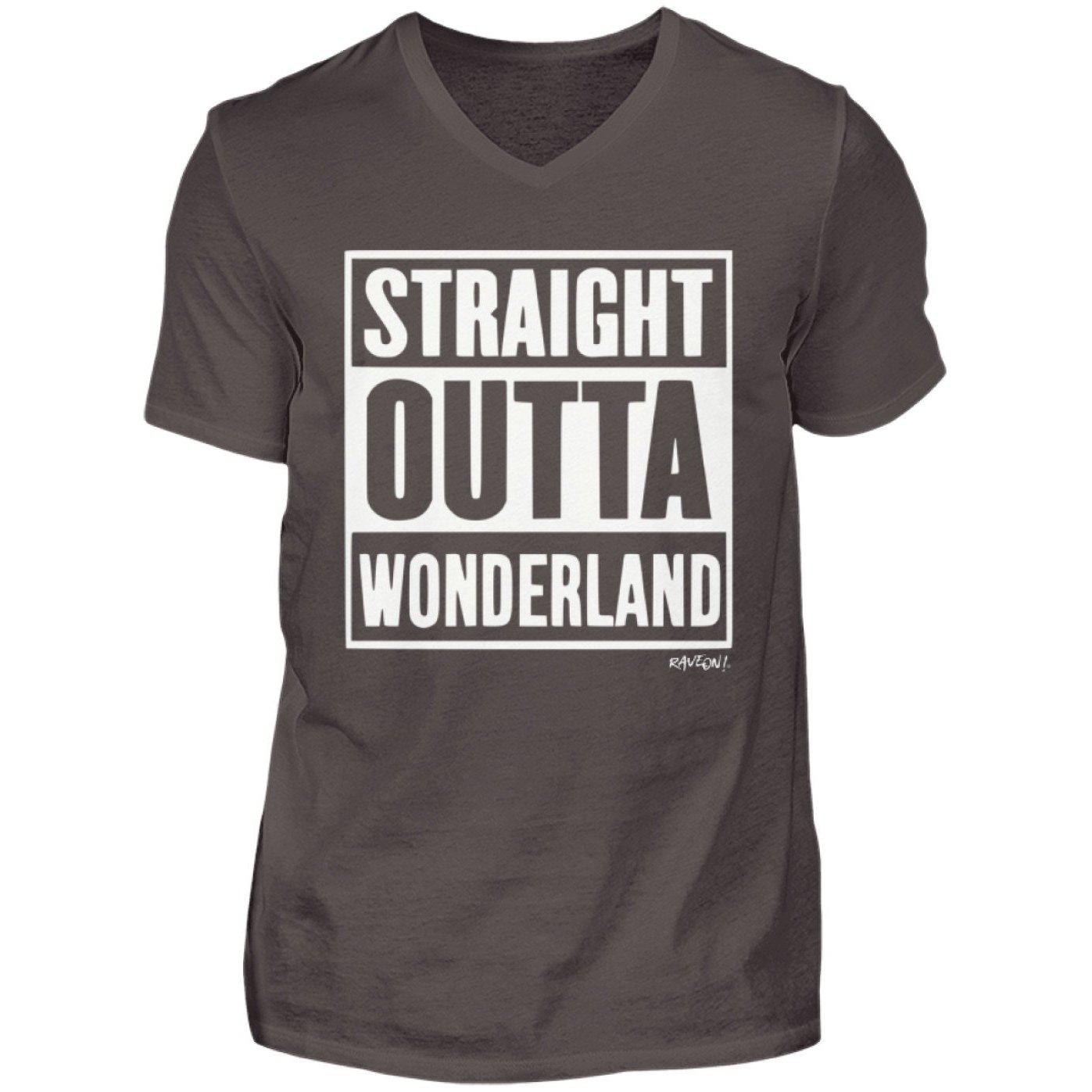 STRAIGHT OUTTA WONDERLAND - Rave On!® - Herren V-Neck Shirt-V-Neck Herrenshirt-Smoke (Solid)-S-Rave-On! I www.rave-on.shop I Deine Rave & Techno Szene Shop I compton, Design - STRAIGHT OUTTA WONDERLAND - Rave On!®, rave, straight, techno, wonderland - Sexy Festival Streetwear , Clubwear & Raver Style