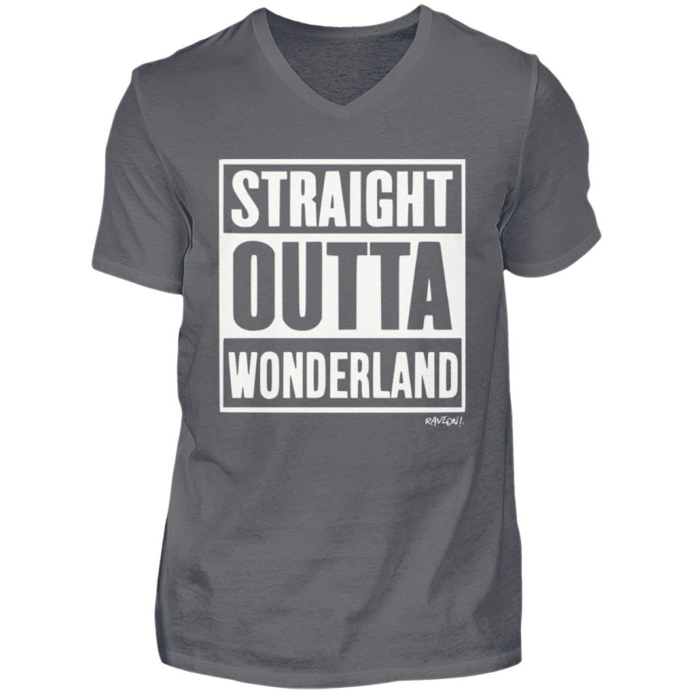 STRAIGHT OUTTA WONDERLAND - Rave On!® - Herren V-Neck Shirt-V-Neck Herrenshirt-Rave-On! I www.rave-on.shop I Deine Rave & Techno Szene Shop I compton, Design - STRAIGHT OUTTA WONDERLAND - Rave On!®, rave, straight, techno, wonderland - Sexy Festival Streetwear , Clubwear & Raver Style