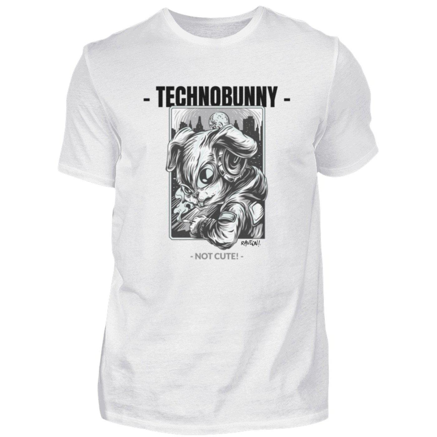 TECHNOBUNNY - Not Cute! - Rave On!® - Herren Shirt Herren Basic T-Shirt White / S - Rave On!® der Club & Techno Szene Shop für Coole Junge Mode Streetwear Style & Fashion Outfits + Sexy Festival 420 Stuff