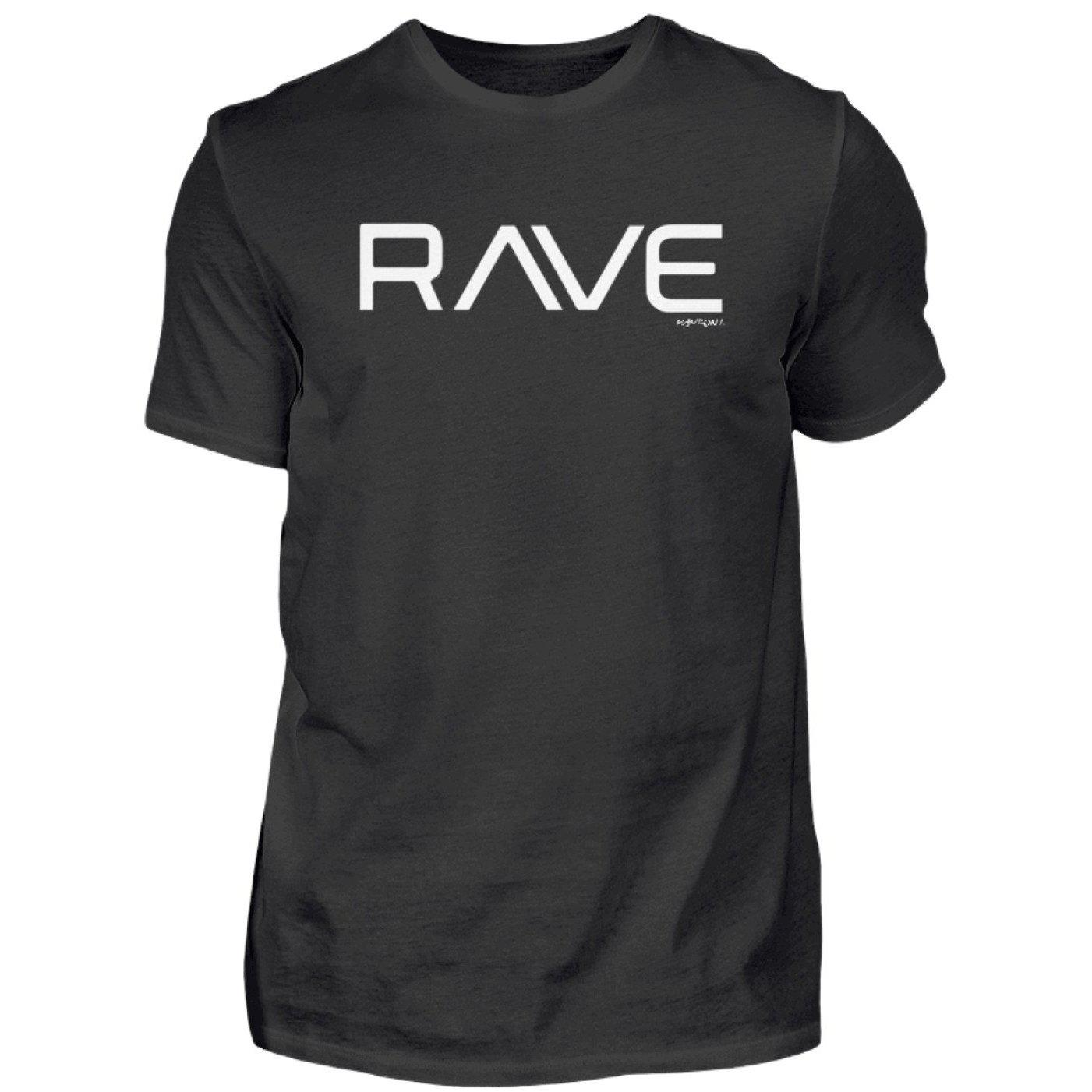 RAVE - Rave On!® Black T-Shirt - Herren Premiumshirt Herren Premium Shirt Black / S - Rave On!® der Club & Techno Szene Shop für Coole Junge Mode Streetwear Style & Fashion Outfits + Sexy Festival 420 Stuff