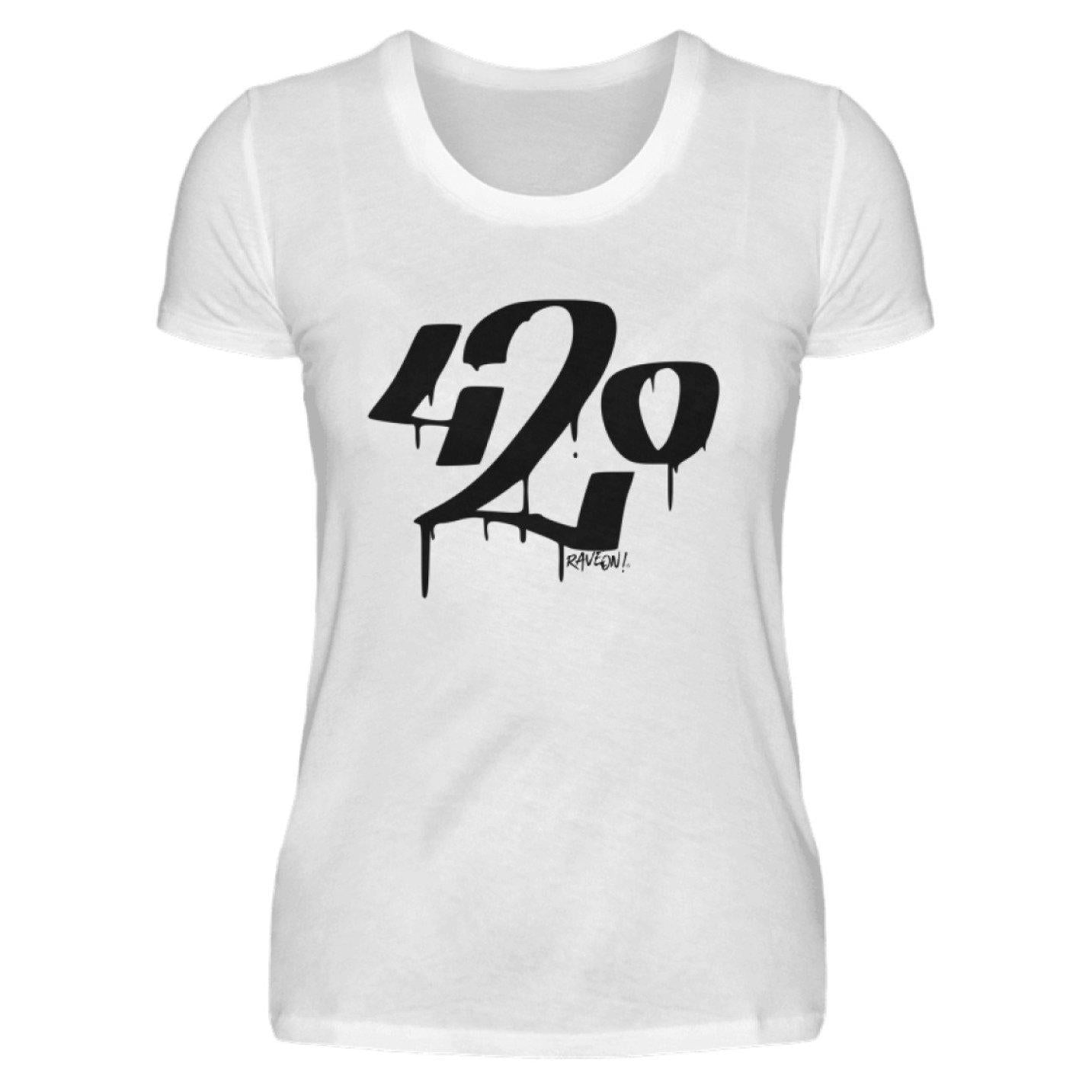 420 white - Rave On!® - Damenshirt Damen Basic T-Shirt White / S - Rave On!® der Club & Techno Szene Shop für Coole Junge Mode Streetwear Style & Fashion Outfits + Sexy Festival 420 Stuff