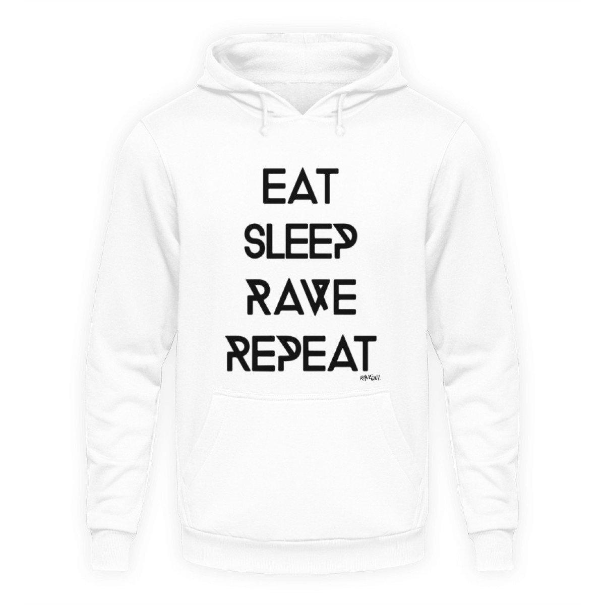 Eat Sleep Rave Repeat - Rave On!® - Unisex Kapuzenpullover Hoodie Unisex Hoodie Arctic White / L - Rave On!® der Club & Techno Szene Shop für Coole Junge Mode Streetwear Style & Fashion Outfits + Sexy Festival 420 Stuff