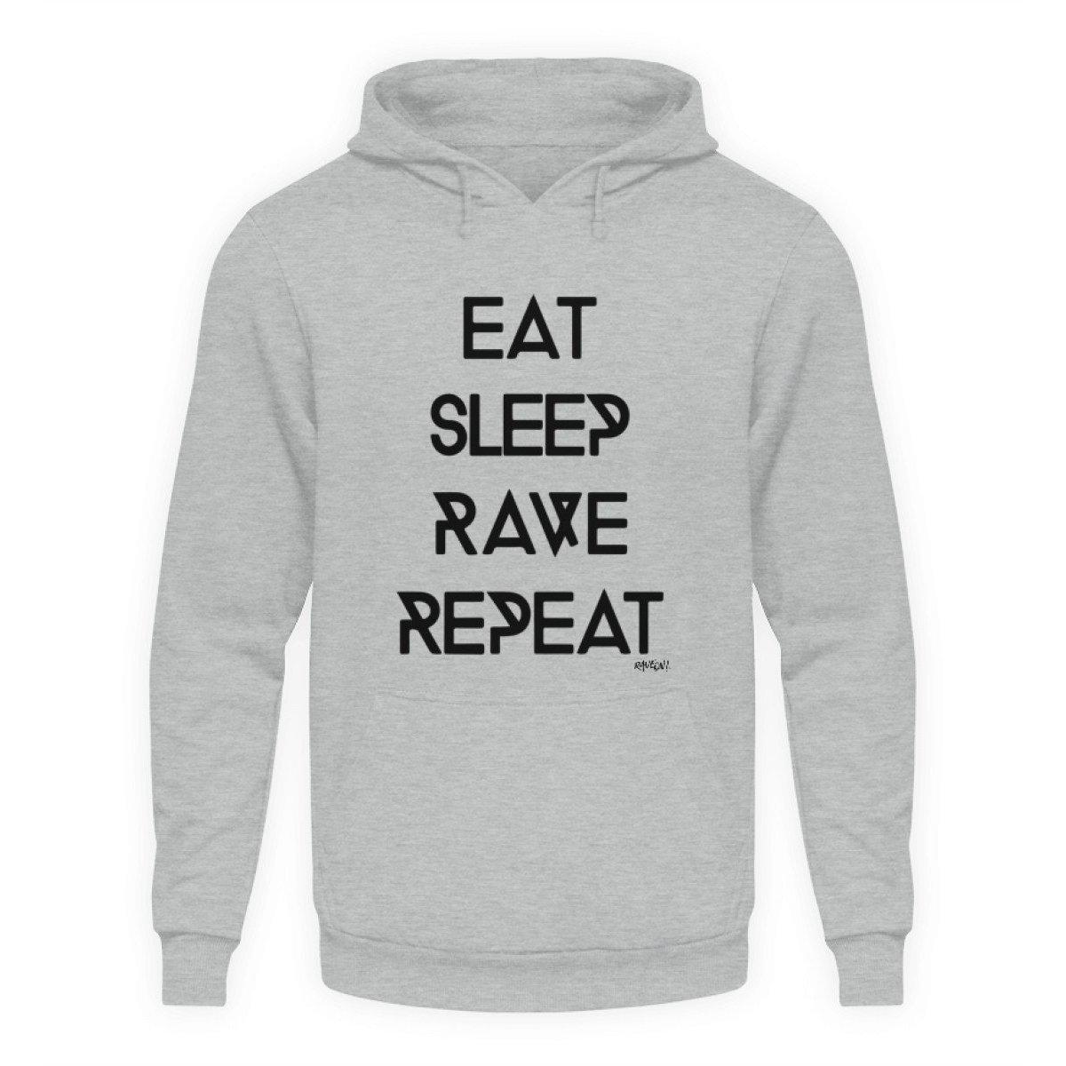 Eat Sleep Rave Repeat - Rave On!® - Unisex Kapuzenpullover Hoodie-Unisex Hoodie-Heather Sport Grey-L-Rave-On! I www.rave-on.shop I Deine Rave & Techno Szene Shop I brand, Design - Eat Sleep Rave Repeat Rave On!®, eat sleep rave repeat, rave repeat, Techno shirt - Sexy Festival Streetwear , Clubwear & Raver Style