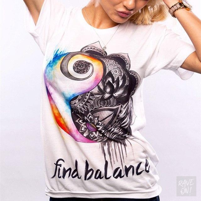 Designer Ladies T-Shirt Collection I T-Shirt Find Balance / S - Rave On!® der Club & Techno Szene Shop für Coole Junge Mode Streetwear Style & Fashion Outfits + Sexy Festival 420 Stuff