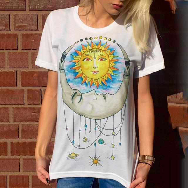 Designer Ladies T-Shirt Collection I T-Shirt Sun Moon Universe / S - Rave On!® der Club & Techno Szene Shop für Coole Junge Mode Streetwear Style & Fashion Outfits + Sexy Festival 420 Stuff