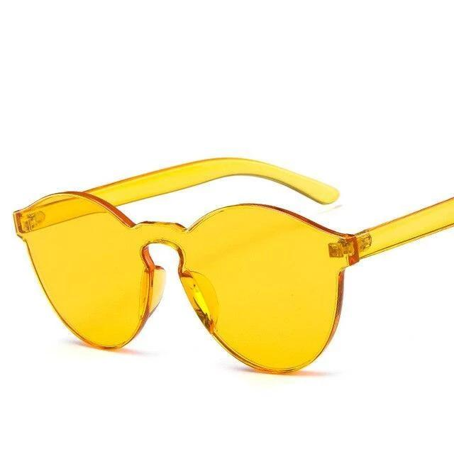 Sunglasses Candy Color Transparent yellow - Rave On!® the club & techno scene shop for cool young fashion streetwear style & fashion outfits + sexy festival 420 stuff