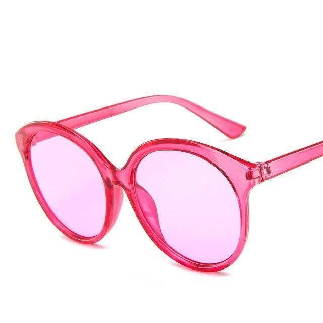 Sunglasses Candy Color Oversize Vintage clear rose - Rave On!® the club & techno scene shop for cool young fashion streetwear style & fashion outfits + sexy festival 420 stuff