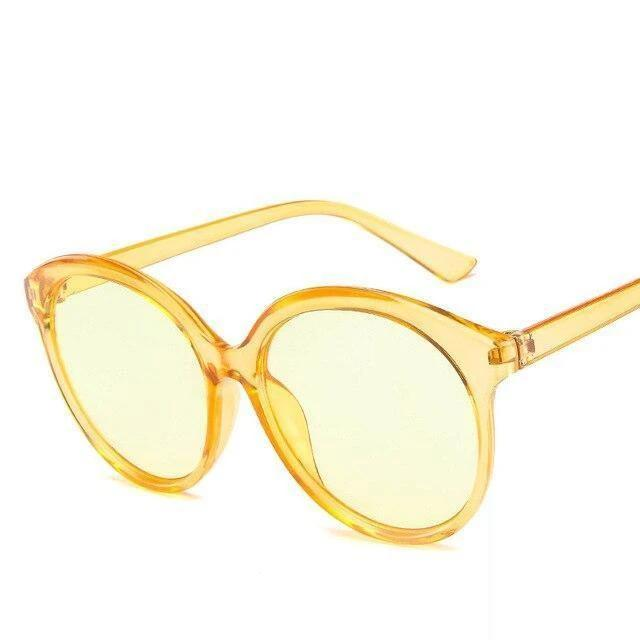 Sunglasses Candy Color Oversize Vintage clear yellow - Rave On!® the club & techno scene shop for cool young fashion streetwear style & fashion outfits + sexy festival 420 stuff