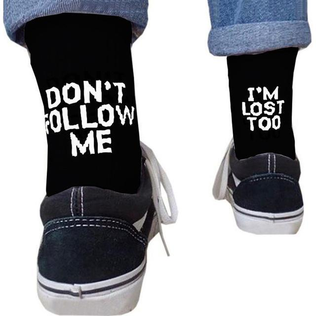 Don´t Follow Me Rave On! Socken-Rave-On! I www.rave-on.shop I Deine Rave & Techno Szene Shop I accessoires, baumwolle, cheap rave clothes, cotton, dont, follow me, frauen, im, lost, männer, one, rave attire, rave essentials, rave outfit, rave outfits, rave wear, size, socke, socken, socks, too, universal - Sexy Festival Streetwear , Clubwear & Raver Style