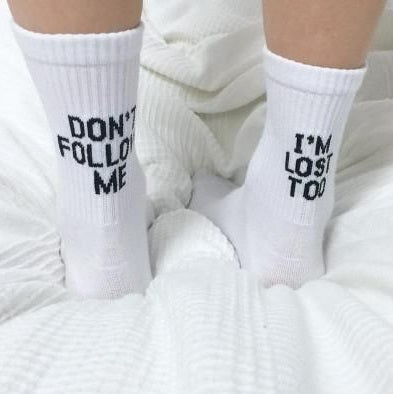 Don´t Follow Me Rave On! Socken-Underwear-Rave-On! I www.rave-on.shop I Deine Rave & Techno Szene Shop I accessoires, baumwolle, cheap rave clothes, cotton, dont, festival outfits, festival outfits damen, follow me, frauen, im, lost, männer, one, rave attire, rave essentials, rave outfit, rave outfits, rave wear, showcase, size, socke, socken, socks, too, universal - Sexy Festival Streetwear , Clubwear & Raver Style