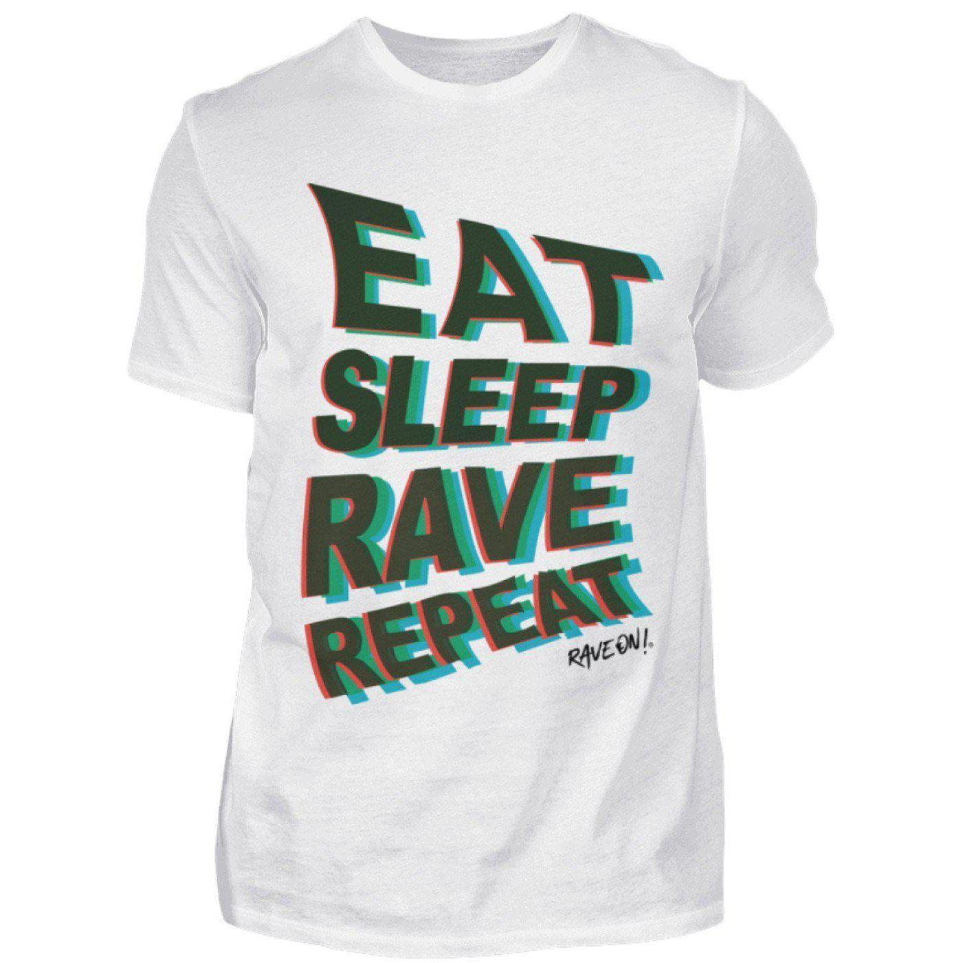Eat Sleep Rave Repeat Rave On!® T-Shirt - Herren Shirt-Herren Basic T-Shirt-Weiß-S-Rave-On! I www.rave-on.shop I Deine Rave & Techno Szene Shop I apparel, best raver shirt, brand, cheap rave clothes, cool repeat shirt, cooles shirt ever, design, Design - Eat Sleep Rave Repeat Rave On!®, Design - Eat Sleep Rave Repeat Rave On!® T-Shirt, eat, eat sleep, eat sleep rave, geschenk, geschenkidee, i heart raves, on, On!®, rave, rave apparel, rave attire, rave brand, rave clothes, rave clothing, rave fa