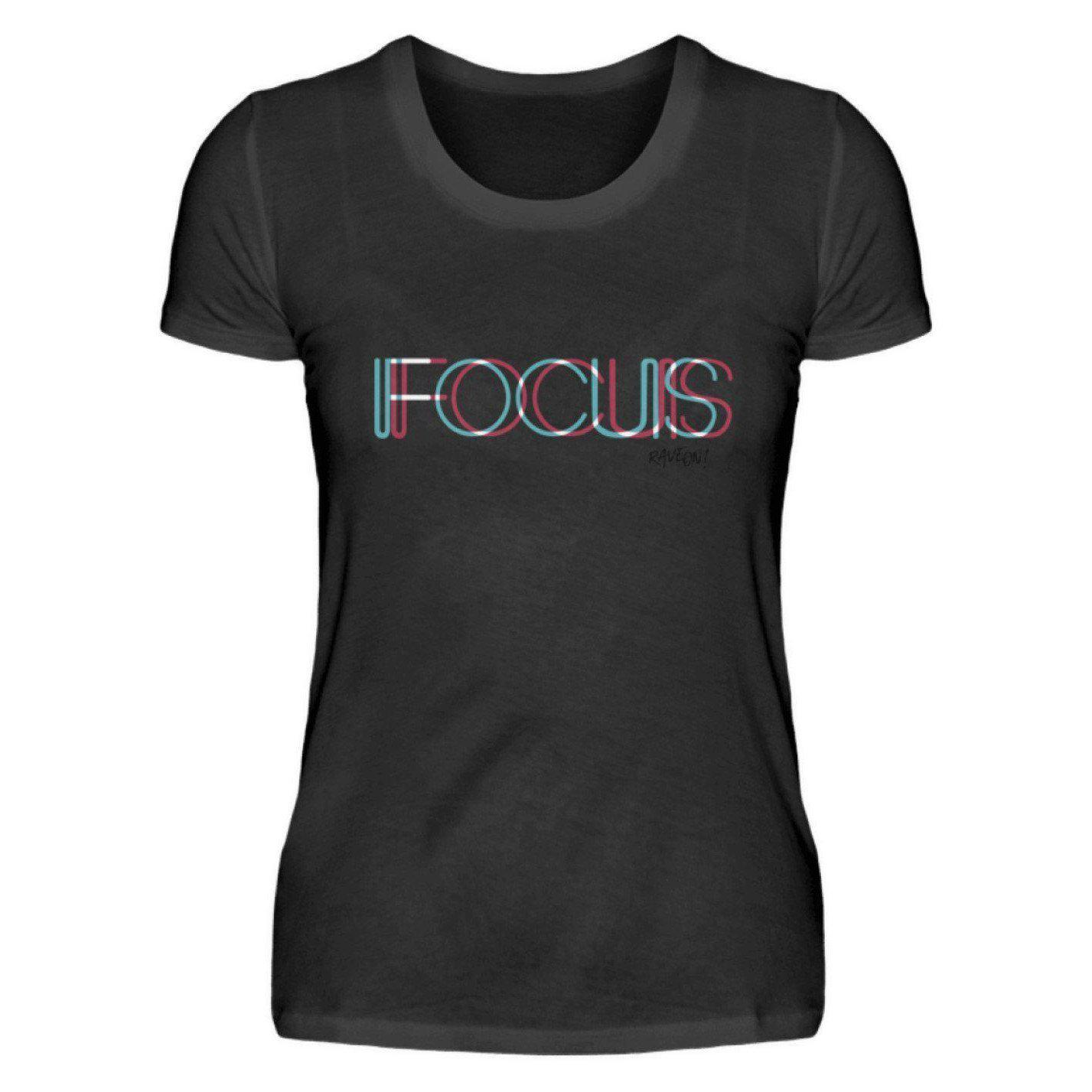 FOCUS trippy -Rave On!® - Damenshirt Damen Basic T-Shirt Schwarz / S - Rave On!® der Club & Techno Szene Shop für Coole Junge Mode Streetwear Style & Fashion Outfits + Sexy Festival 420 Stuff