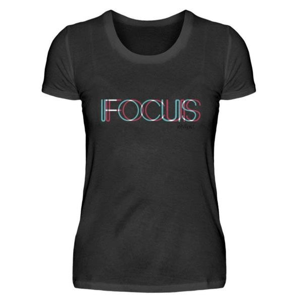 FOCUS trippy -Rave On!® - Damenshirt Damen Basic T-Shirt - Rave On!® der Club & Techno Szene Shop für Coole Junge Mode Streetwear Style & Fashion Outfits + Sexy Festival 420 Stuff