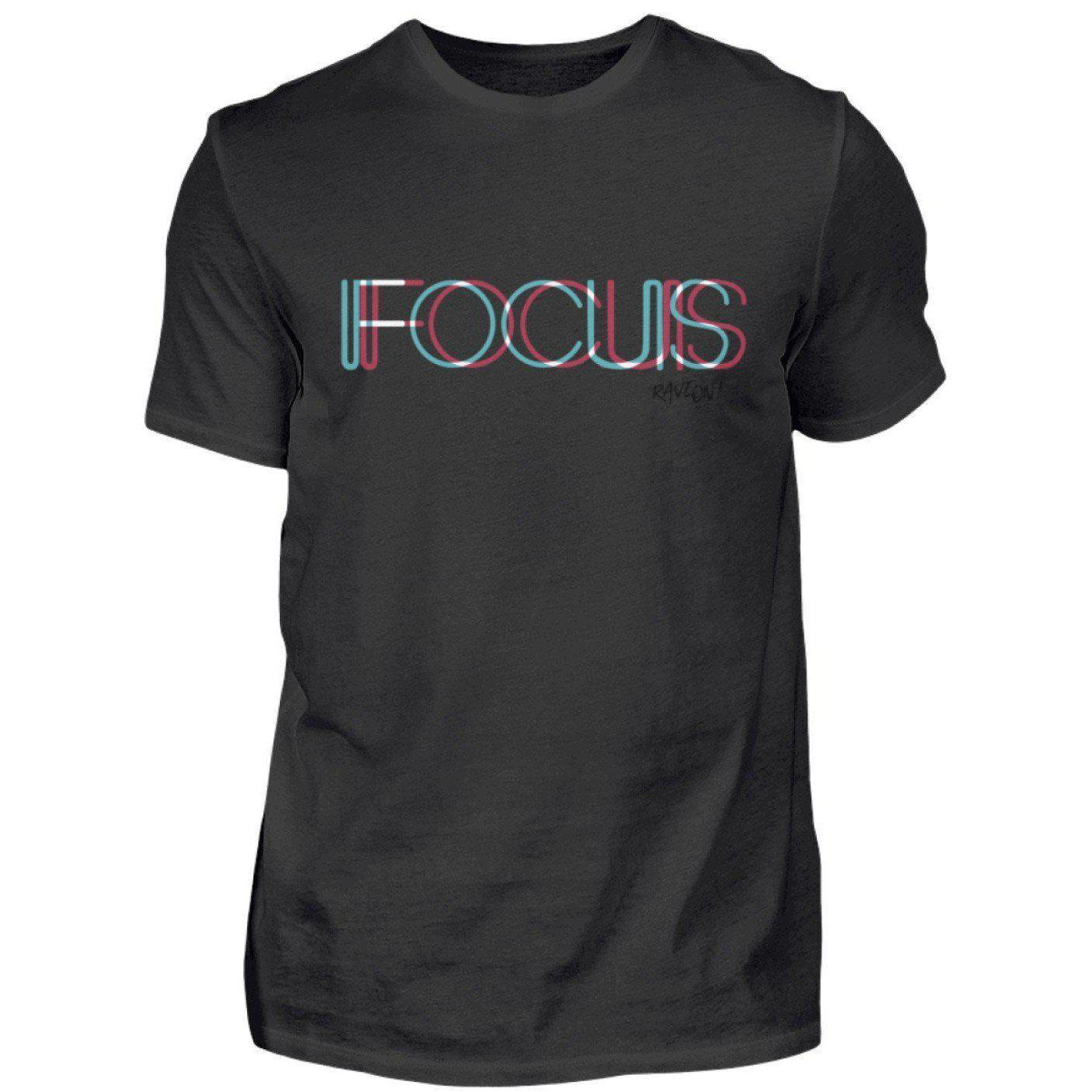 FOCUS trippy -Rave On!® - Herren Shirt Herren Basic T-Shirt Schwarz / S - Rave On!® der Club & Techno Szene Shop für Coole Junge Mode Streetwear Style & Fashion Outfits + Sexy Festival 420 Stuff