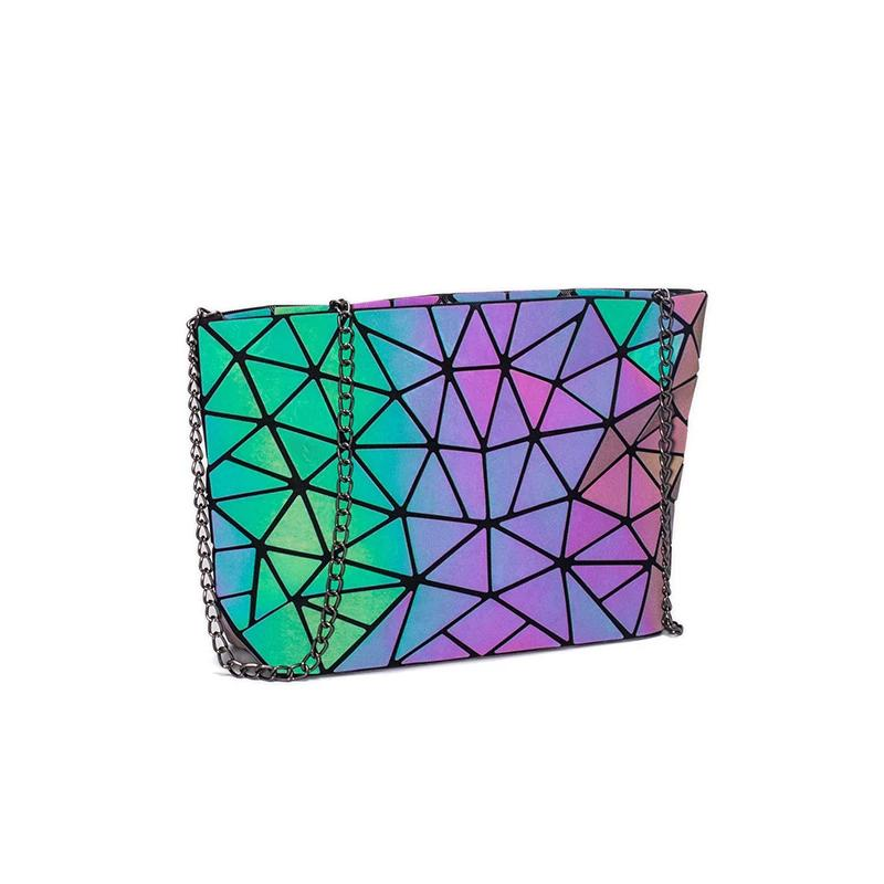 Holographic luminous shoulder bag LUMI irregular triangle - Rave On!® the club & techno scene shop for cool young fashion streetwear style & fashion outfits + sexy festival 420 stuff