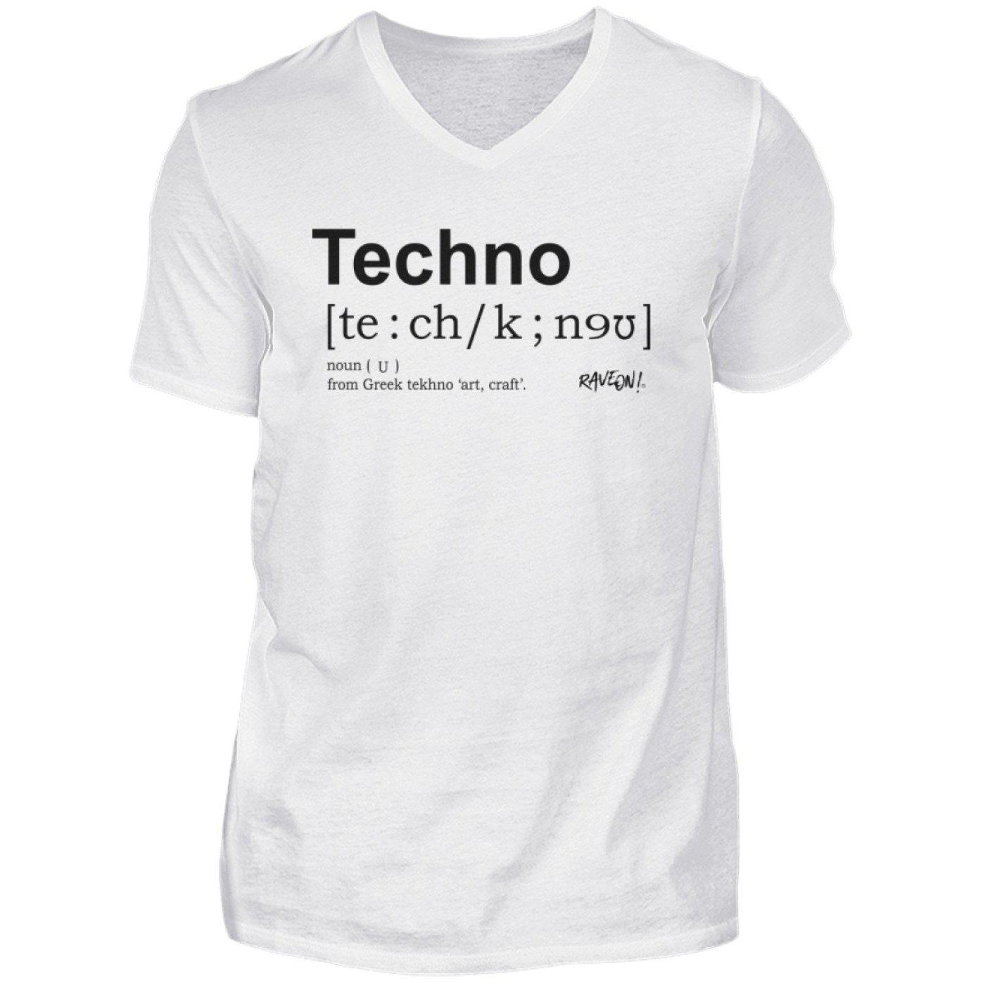Techno Dictionary - Rave On!® Shirt - Herren V-Neck Shirt V-Neck Herrenshirt White / S - Rave On!® der Club & Techno Szene Shop für Coole Junge Mode Streetwear Style & Fashion Outfits + Sexy Festival 420 Stuff