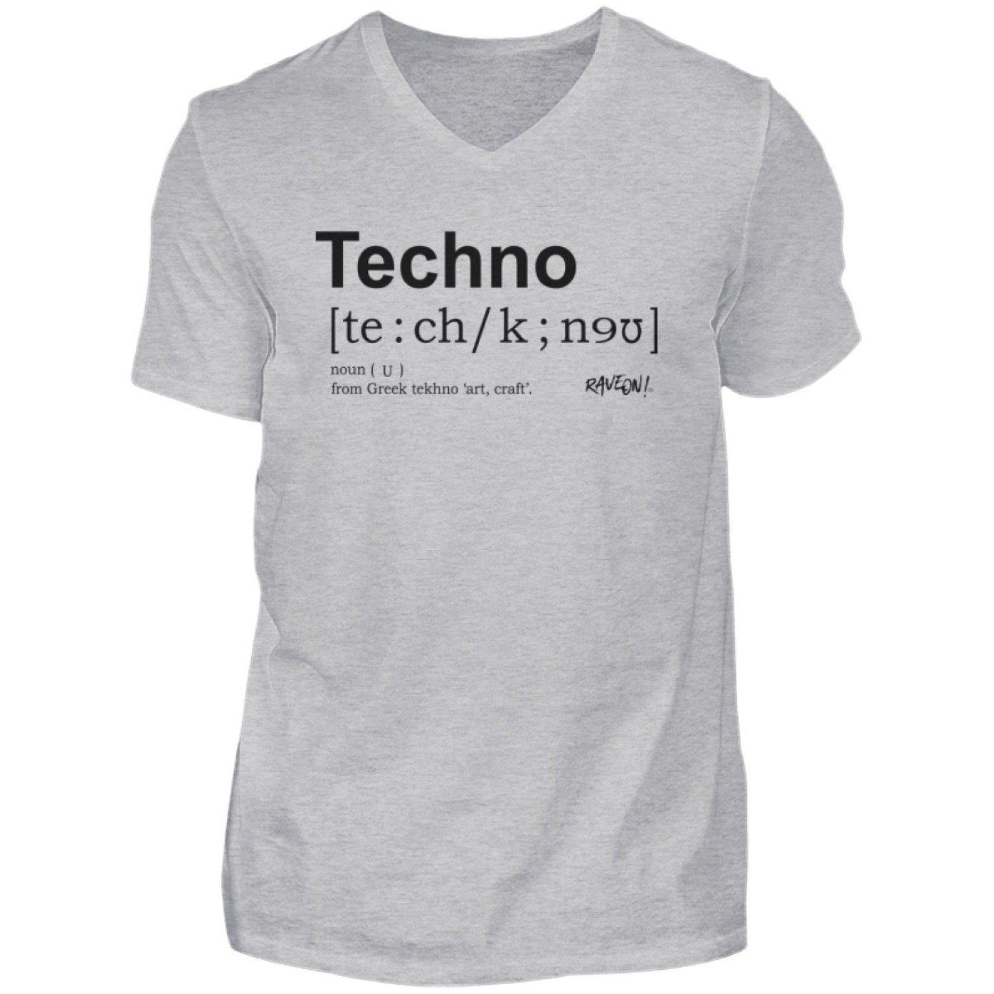Techno Dictionary - Rave On!® Shirt - Herren V-Neck Shirt V-Neck Herrenshirt Heather Grey / S - Rave On!® der Club & Techno Szene Shop für Coole Junge Mode Streetwear Style & Fashion Outfits + Sexy Festival 420 Stuff