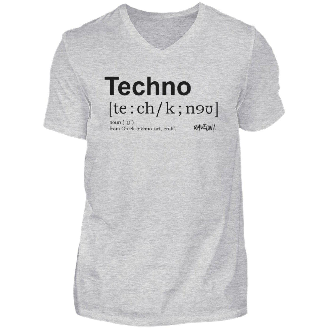 Techno Dictionary - Rave On!® Shirt - Herren V-Neck Shirt V-Neck Herrenshirt Sport Grey (Heather) / S - Rave On!® der Club & Techno Szene Shop für Coole Junge Mode Streetwear Style & Fashion Outfits + Sexy Festival 420 Stuff