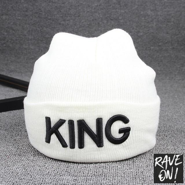 KING or QUEEN Beanie White KING / All good elasticity - Rave On!® the club & techno scene shop for cool young fashion streetwear style & fashion outfits + sexy festival 420 stuff