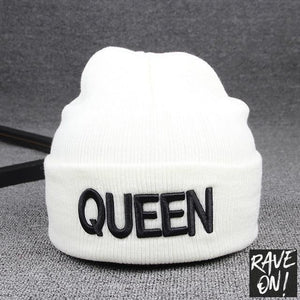 KING or QUEEN Mütze-White QUEEN-All good elasticity-Rave-On!