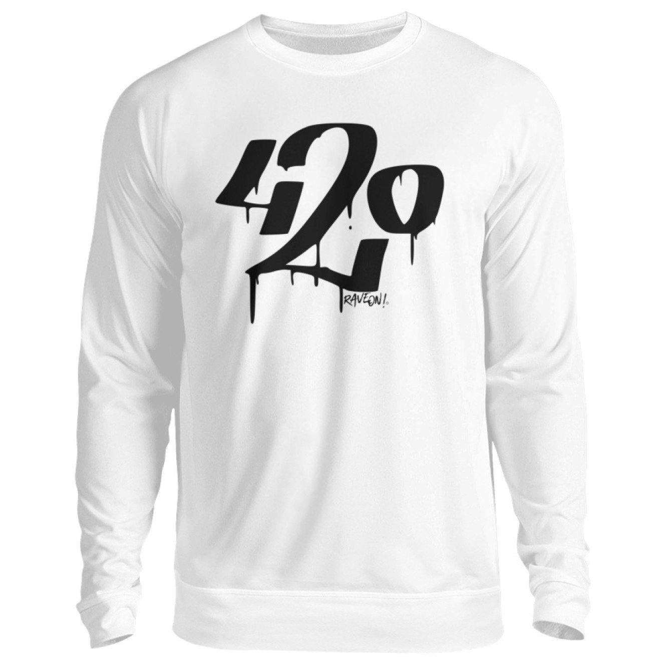 420 white - Rave On!® - Unisex Pullover Unisex Sweatshirt Arctic White / S - Rave On!® der Club & Techno Szene Shop für Coole Junge Mode Streetwear Style & Fashion Outfits + Sexy Festival 420 Stuff