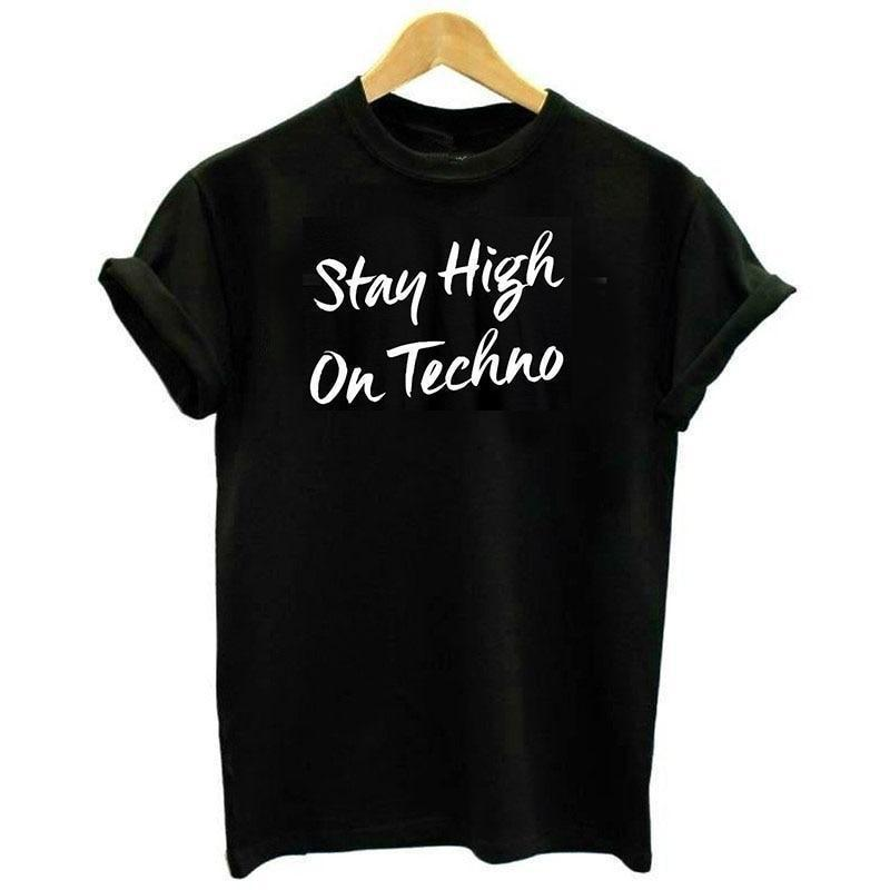 """STAY HIGH ON TECHNO"" T-Shirt-Damen Basic T-Shirt-Rave-On! I www.rave-on.shop I Deine Rave & Techno Szene Shop I festival, festival bekleidung, festival klamotten, festival oberteile, festival outfits, festival t-hirts, festivals bekleidung, festivals oberteile, frauen, i heart raves, ladies, oberteil, rave clothes, rave clothing, rave fashion, rave gear, rave shop, rave wear, shirt, t-shirt, techno apparel, techno clubwear, top - Sexy Festival Streetwear , Clubwear & Raver Style"